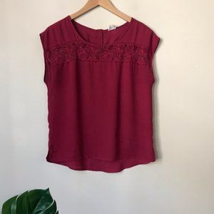 one clothing | Sheer Lace Accented Top Medium Red